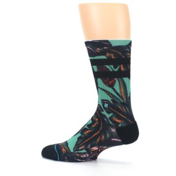 Image of Green Black Tropical Leaves Men's Casual Socks (side-2-13)