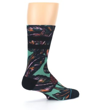 Image of Green Black Tropical Leaves Men's Casual Socks (side-1-23)