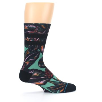 Image of Green Black Tropical Leaves Men's Casual Socks (side-1-24)
