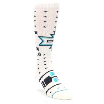 Image of White Teal Black Tribal Pattern Men's Casual Socks (side-1-front-02)