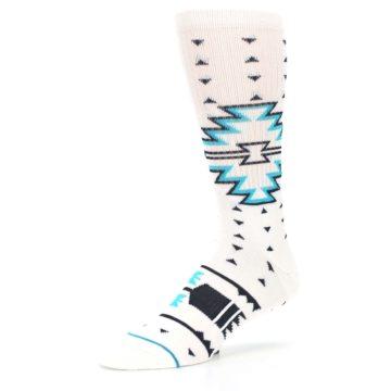 Image of White Teal Black Tribal Pattern Men's Casual Socks (side-2-09)