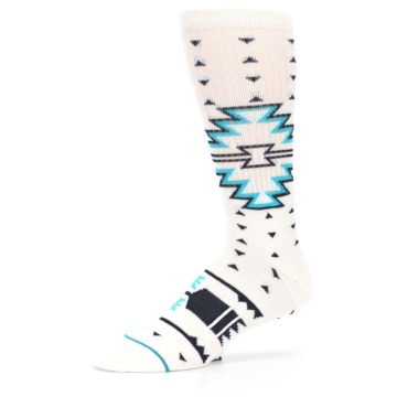 Image of White Teal Black Tribal Pattern Men's Casual Socks (side-2-10)