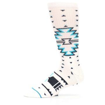 Image of White Teal Black Tribal Pattern Men's Casual Socks (side-2-11)