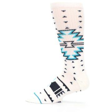 Image of White Teal Black Tribal Pattern Men's Casual Socks (side-2-12)