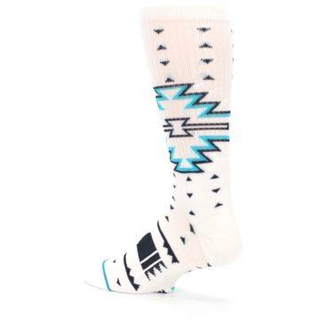 Image of White Teal Black Tribal Pattern Men's Casual Socks (side-2-back-14)