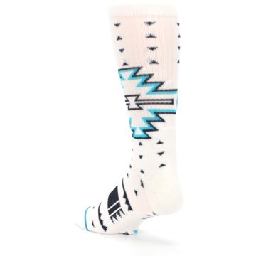 Image of White Teal Black Tribal Pattern Men's Casual Socks (side-2-back-15)