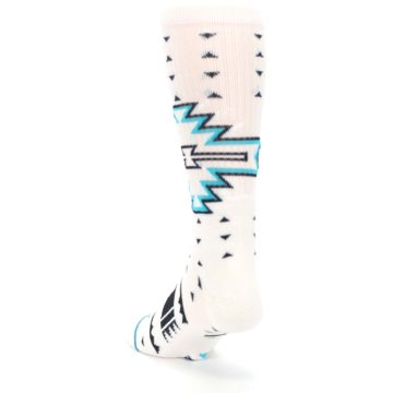 Image of White Teal Black Tribal Pattern Men's Casual Socks (side-2-back-16)