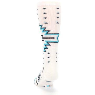 Image of White Teal Black Tribal Pattern Men's Casual Socks (back-17)