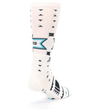 Image of White Teal Black Tribal Pattern Men's Casual Socks (side-1-back-21)
