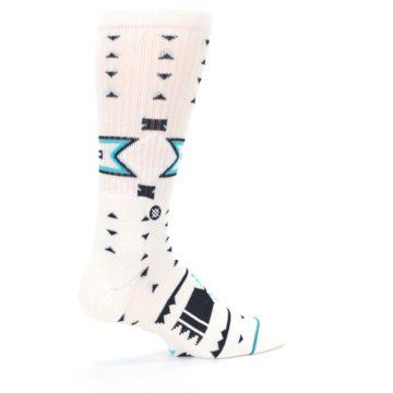 Image of White Teal Black Tribal Pattern Men's Casual Socks (side-1-23)