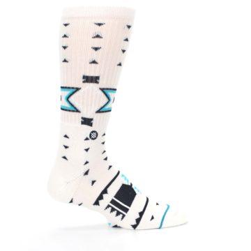 Image of White Teal Black Tribal Pattern Men's Casual Socks (side-1-24)