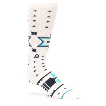 Image of White Teal Black Tribal Pattern Men's Casual Socks (side-1-26)