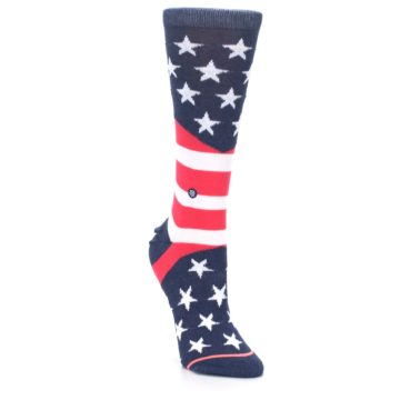 Image of Pink Blue White American Flag Women's Casual Sock (side-1-front-02)
