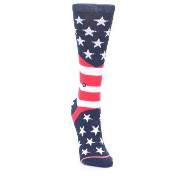 Image of Pink Blue White American Flag Women's Casual Sock (side-1-front-03)