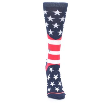 Image of Pink Blue White American Flag Women's Casual Sock (front-04)