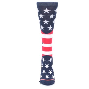 Image of Pink Blue White American Flag Women's Casual Sock (front-05)