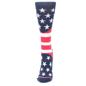 Image of Pink Blue White American Flag Women's Casual Sock (side-2-front-06)