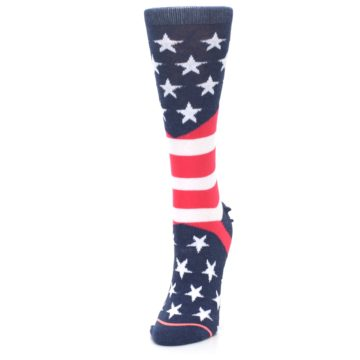 Image of Pink Blue White American Flag Women's Casual Sock (side-2-front-07)