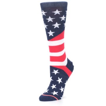 Image of Pink Blue White American Flag Women's Casual Sock (side-2-09)