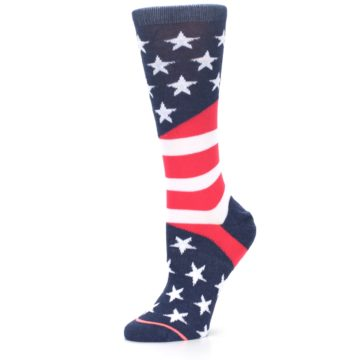 Image of Pink Blue White American Flag Women's Casual Sock (side-2-10)