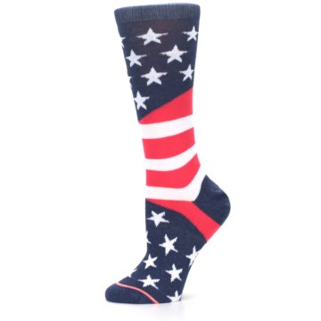 Image of Pink Blue White American Flag Women's Casual Sock (side-2-11)