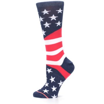Image of Pink Blue White American Flag Women's Casual Sock (side-2-12)