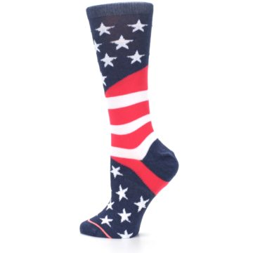 Image of Pink Blue White American Flag Women's Casual Sock (side-2-13)
