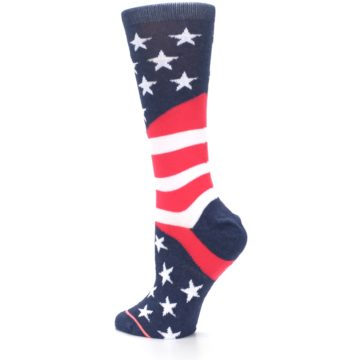 Image of Pink Blue White American Flag Women's Casual Sock (side-2-back-14)