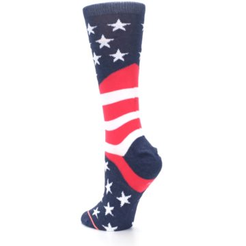 Image of Pink Blue White American Flag Women's Casual Sock (side-2-back-15)