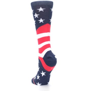 Image of Pink Blue White American Flag Women's Casual Sock (side-2-back-16)