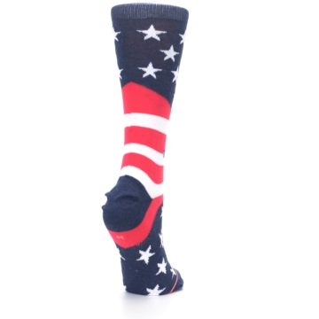 Image of Pink Blue White American Flag Women's Casual Sock (side-1-back-21)