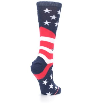 Image of Pink Blue White American Flag Women's Casual Sock (side-1-back-22)
