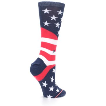 Image of Pink Blue White American Flag Women's Casual Sock (side-1-23)
