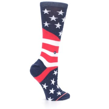 Image of Pink Blue White American Flag Women's Casual Sock (side-1-24)
