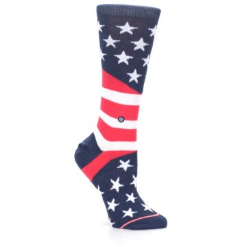 Image of Pink Blue White American Flag Women's Casual Sock (side-1-26)