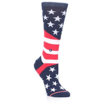 Image of Pink Blue White American Flag Women's Casual Sock (side-1-27)