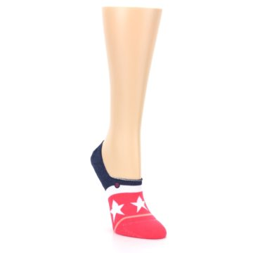 Image of Pink Blue White American Flag Women's No Show Liner Socks (side-1-front-02)