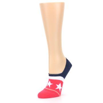 Image of Pink Blue White American Flag Women's No Show Liner Socks (side-2-09)