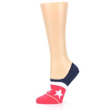 Image of Pink Blue White American Flag Women's No Show Liner Socks (side-2-11)