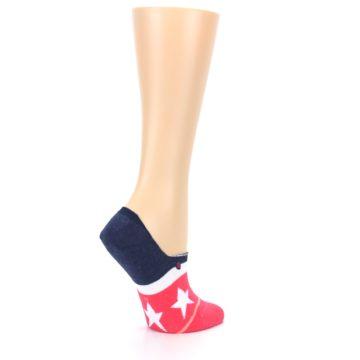 Image of Pink Blue White American Flag Women's No Show Liner Socks (side-1-23)