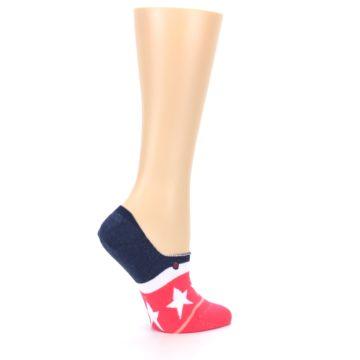 Image of Pink Blue White American Flag Women's No Show Liner Socks (side-1-24)
