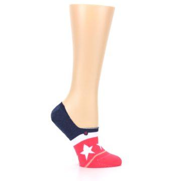 Image of Pink Blue White American Flag Women's No Show Liner Socks (side-1-25)