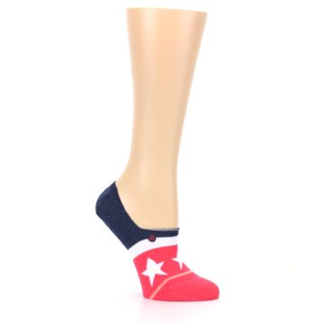 Image of Pink Blue White American Flag Women's No Show Liner Socks (side-1-26)