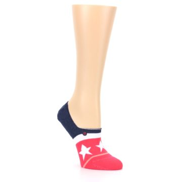 Image of Pink Blue White American Flag Women's No Show Liner Socks (side-1-27)