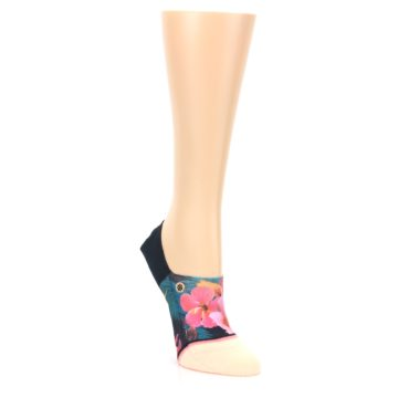 Image of Peach Teal Pink Orchids Women's No Show Liner Socks (side-1-front-02)