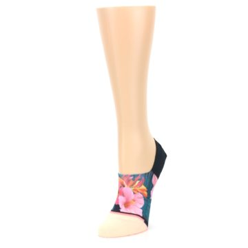 Image of Peach Teal Pink Orchids Women's No Show Liner Socks (side-2-front-08)