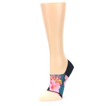 Image of Peach Teal Pink Orchids Women's No Show Liner Socks (side-2-09)