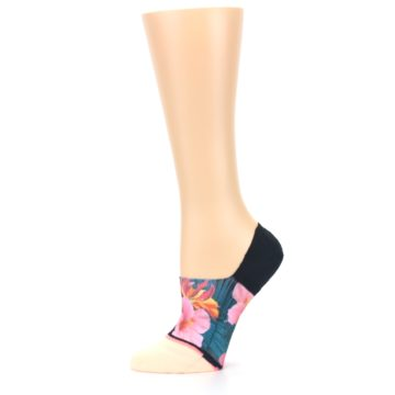 Image of Peach Teal Pink Orchids Women's No Show Liner Socks (side-2-11)