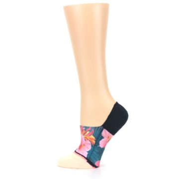 Image of Peach Teal Pink Orchids Women's No Show Liner Socks (side-2-12)