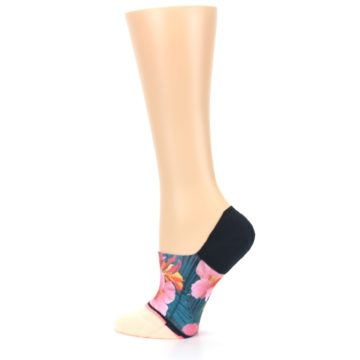 Image of Peach Teal Pink Orchids Women's No Show Liner Socks (side-2-13)